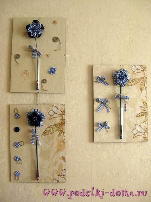 текстильные цветы - триптих