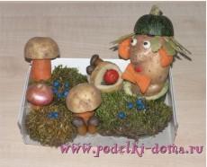 Сегодня у нас новое фото: смотрите, какую поделку из овощей (в садик) сделала Ольга Томчук вместе со своим ребенком.