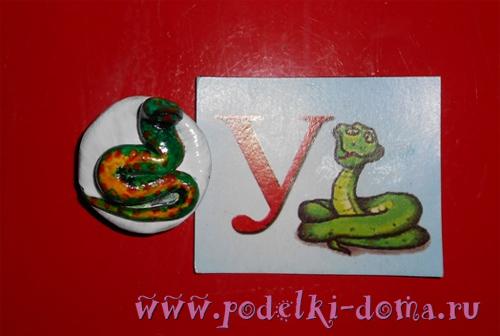 змея магнит - лепка