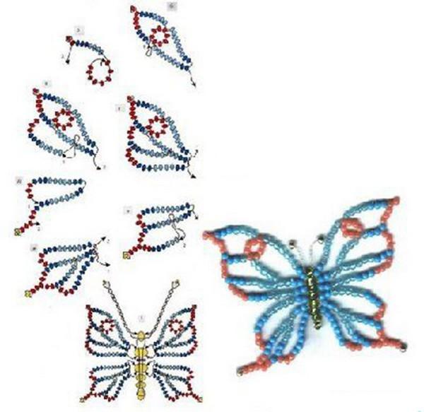 Ажурная бабочка из бисера мастер класс с пошаговым фото
