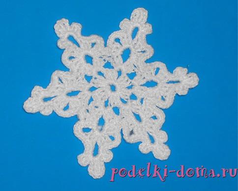 вязание крючком снежинки