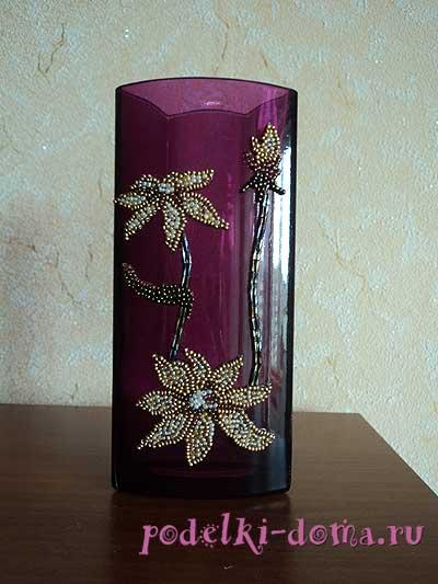 украшение вазы - бисер на стекле