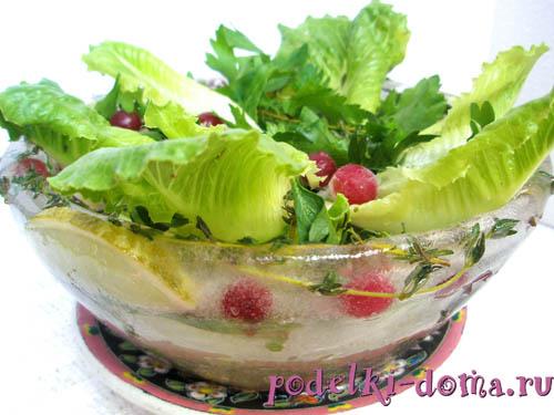 оригинальное блюдо - ледяная тарелка