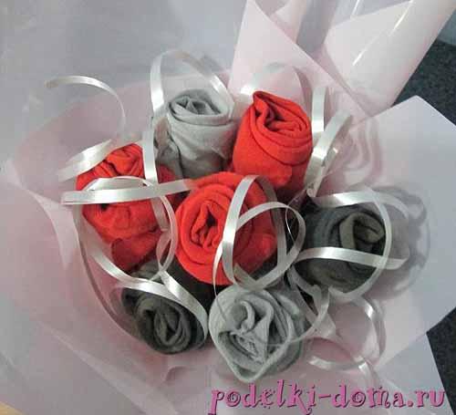 Цветы из носка своими руками