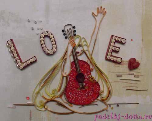 Изготовление открытки ко Дню Святого Валентина в технике квиллинг