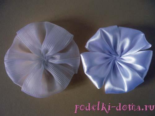 Сделаем из пуговицы с петелькой серединку для цветочка. .  Для этого из атласной ленты вырезаем кружок диаметром на 2...