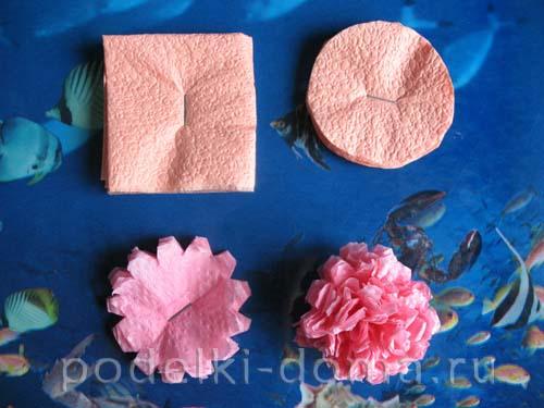 Как сделать из салфеток розу для единички