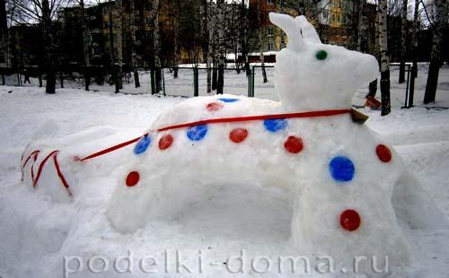 Как сделать коза из снега