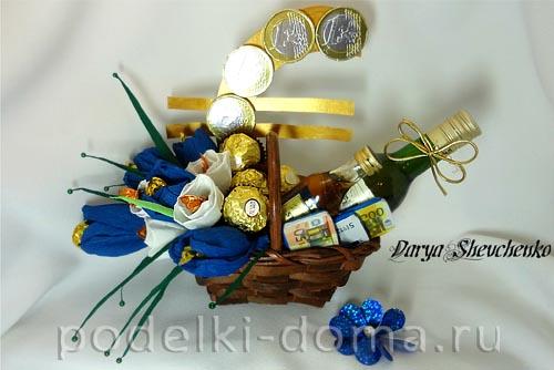 Гофрированная бумага и конфеты подарок для мужчин