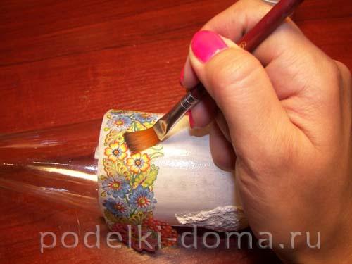 dekupazh butylki ukrainskiy domik16