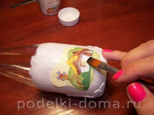 dekupazh butylki ukrainskiy domik17