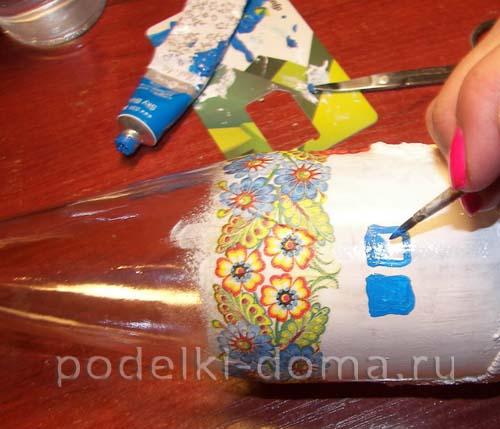 dekupazh butylki ukrainskiy domik18