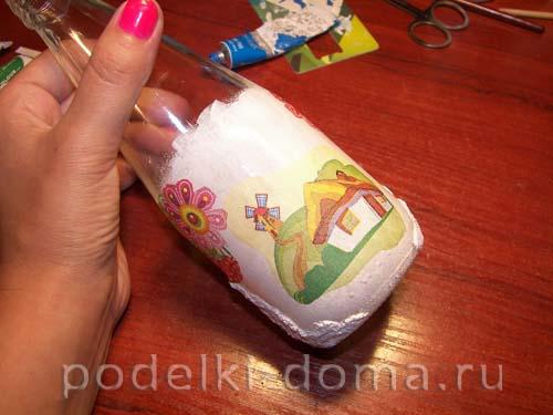 dekupazh butylki ukrainskiy domik20