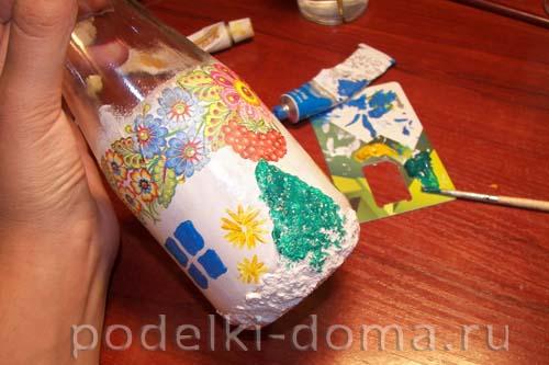 dekupazh butylki ukrainskiy domik22