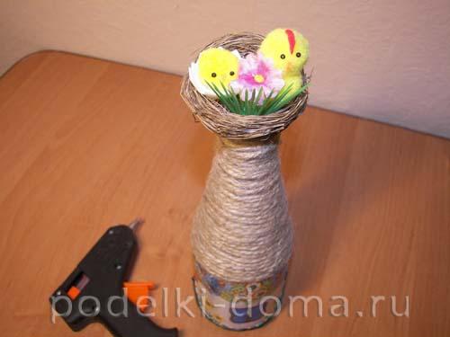 dekupazh butylki ukrainskiy domik33