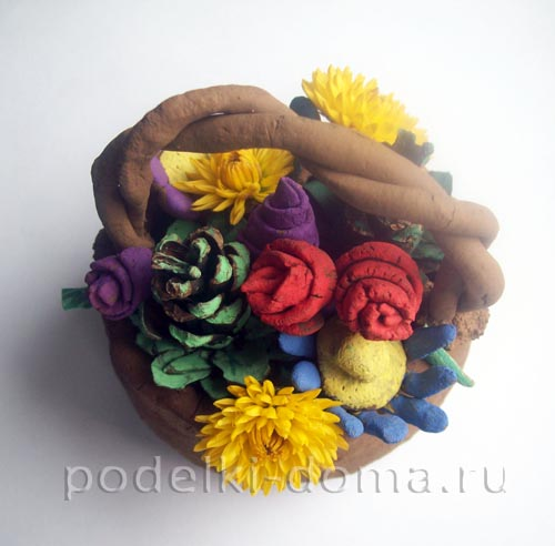 podelka iz gliny korzina s cvetami12
