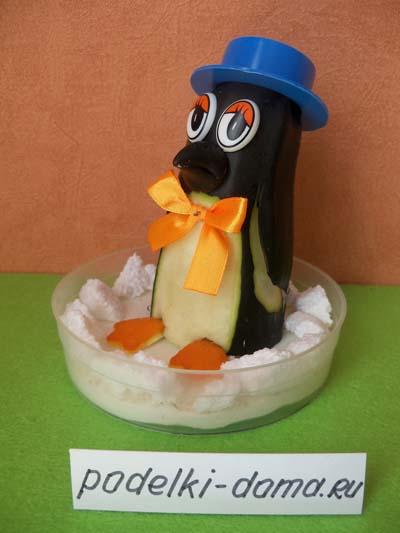 Поделки из овощей и фруктов. Пингвин из баклажана