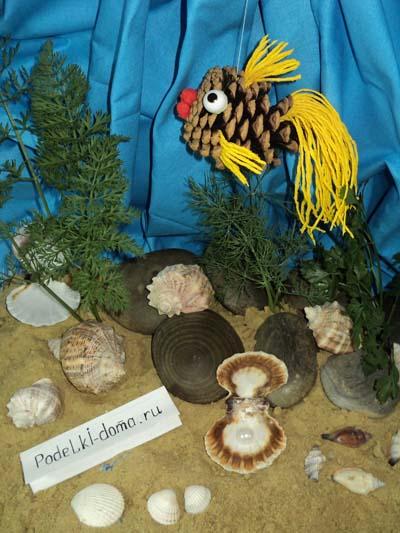 rybka akvarium prirodnye materialy