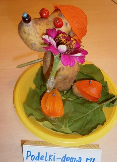 Поделки из овощей и фруктов. Собака из картошки