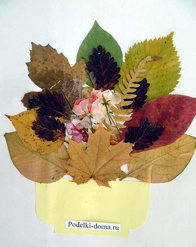 applikaciya iz cvetov i listyev buket
