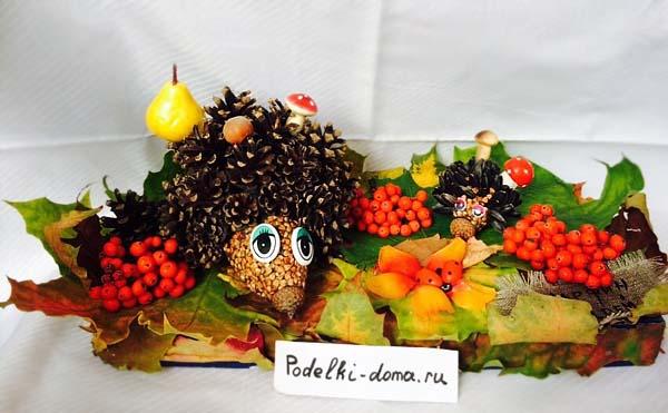 Поделки на тему осень в садик из шишек и пластилина 23