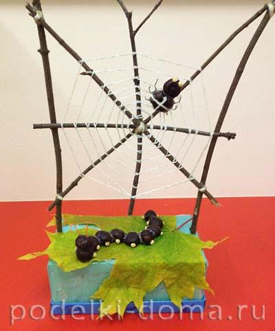 pauk i gusenica iz prirodnyh materialov