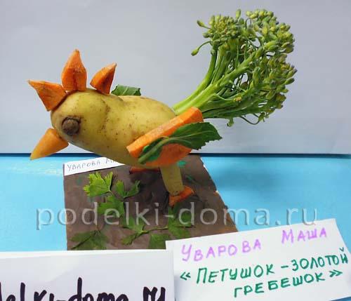 Поделки из овощей и фруктов. Петушок