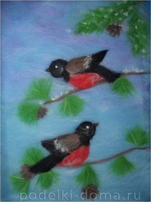 kartina snegiri sherstyanaya akvarel
