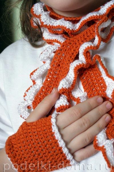 комплект: шарф и митенки для девочки