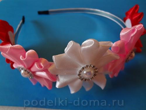 ободок цветы из лент