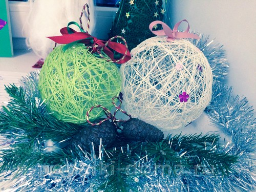 новогоднее настроение шары из ниток