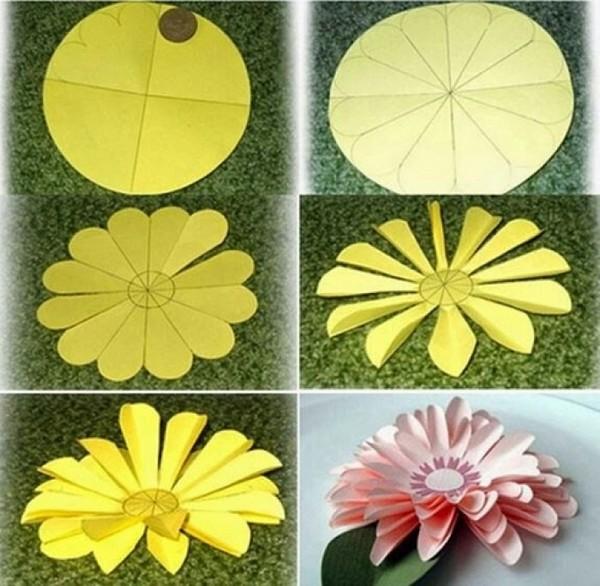 объемный цветок из бумаги