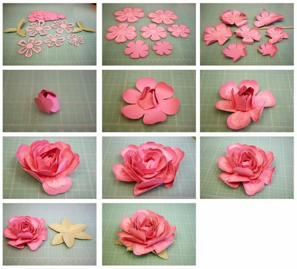 роза из бумаги двухцветная