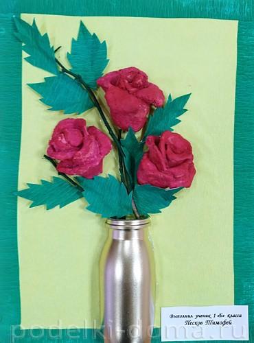 букет роз из соленого теста