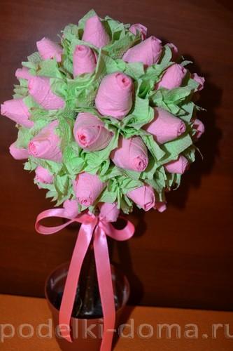 топиарий из бумажных цветов