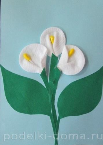 цветы каллы из ватных дисков и палочек