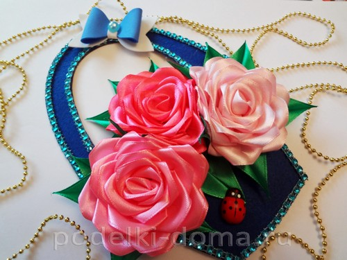 канзаши розы в корзине 15