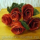 Букет роз из швейных  ниток. Мастер-класс.
