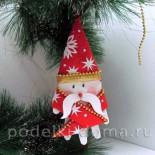 Елочная игрушка – Дед Мороз из ладошки