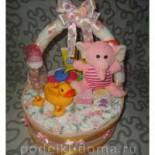 Очаровательный подарок для новорожденной крохи – корзинка с цветами из подгузников
