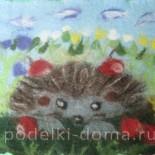 Картина из шерсти «Осенние заботы»