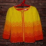 Желтая кофточка для девочки (вязание спицами)