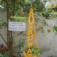 Кашпо для вьющихся цветов «Весеннее настроение» от Елены — макраме