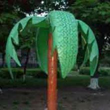 Пальма и другие поделки из шин для сада