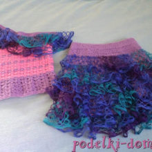 Летний костюм для девочки «Волна», вязаный крючком