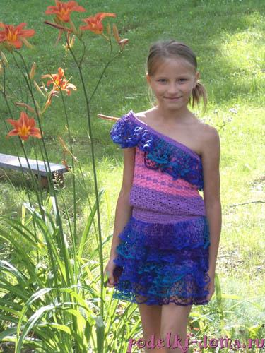 "Летний костюм для девочки ""Волна"", вязаный крючком"