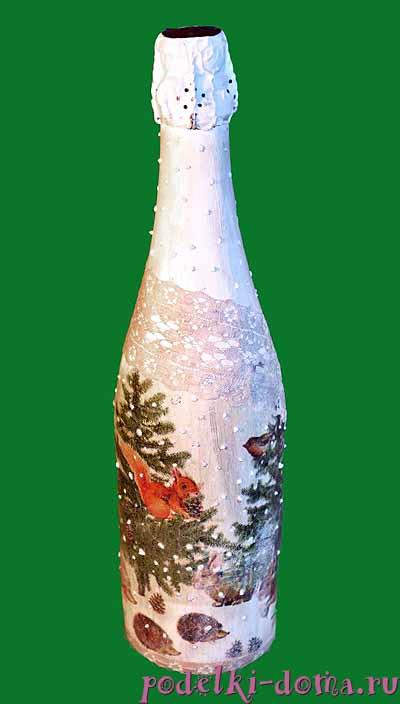 dekupazh butylki shampanskogo
