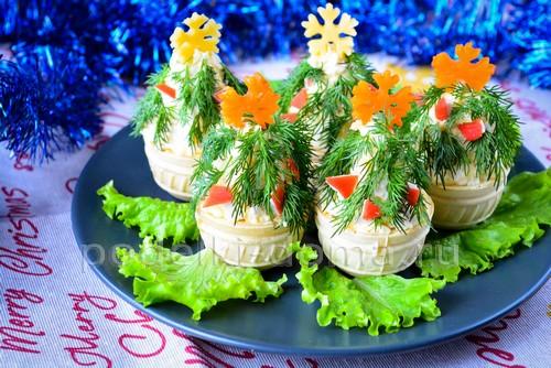 Украшение салатов и закусок на Новый год 2019