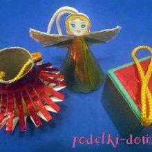 Елочные игрушки из подручных материалов