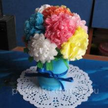 Букетик для учительницы (цветы из салфеток)